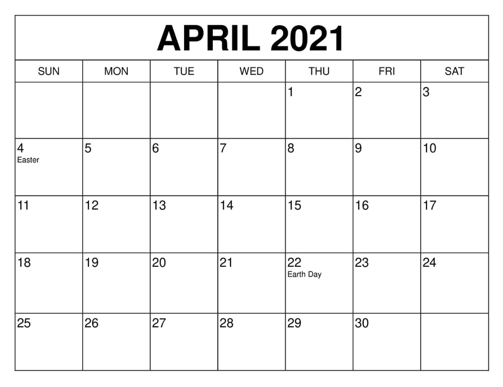 Retro April 2021 Calendar Holidays