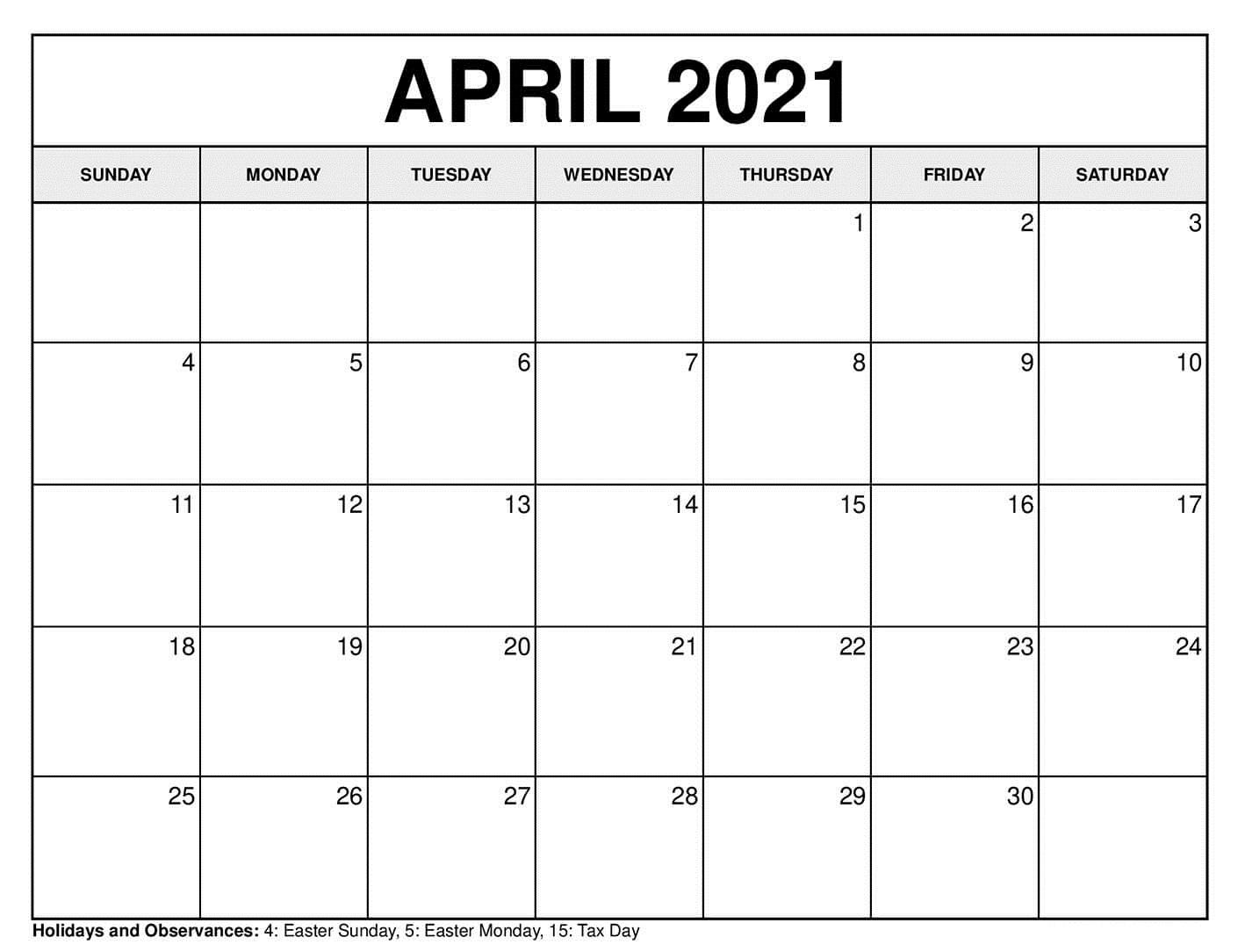15 Best Free Printable April 2021 Calendar Template - Free ...