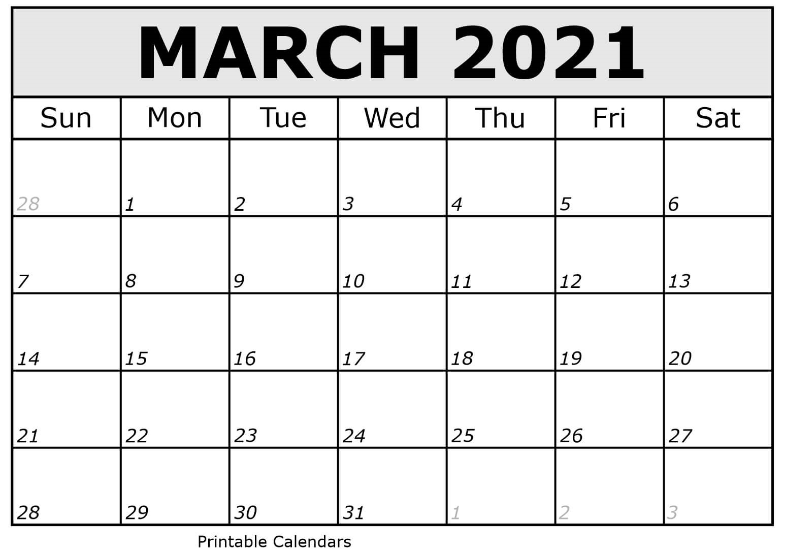March 2021 Calendar Cute PDF Template - Free Printable ...