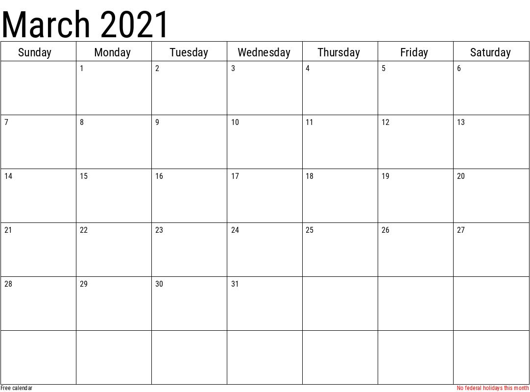 Yellow March Calendar 2021