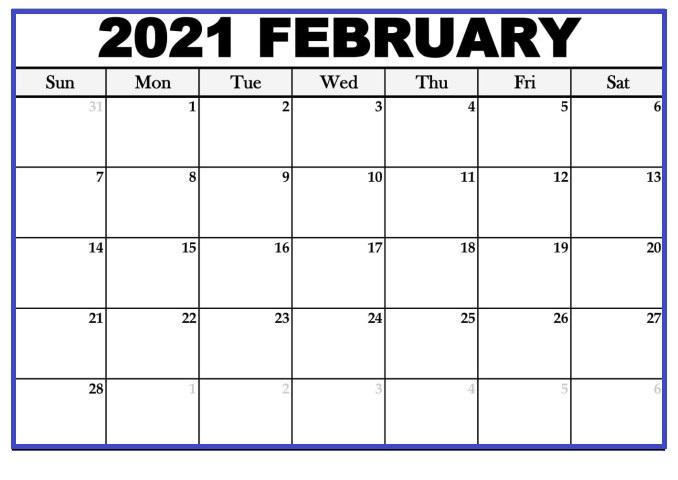 February 2021 Blank Printable Calendar