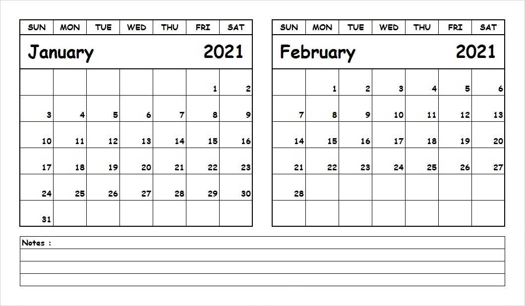 February 2021 Printable Calendar Page