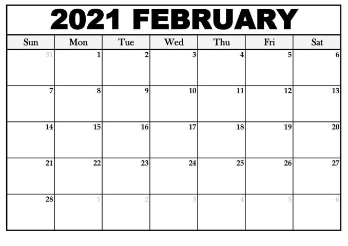 February 2021 Printable Calendar Portrait