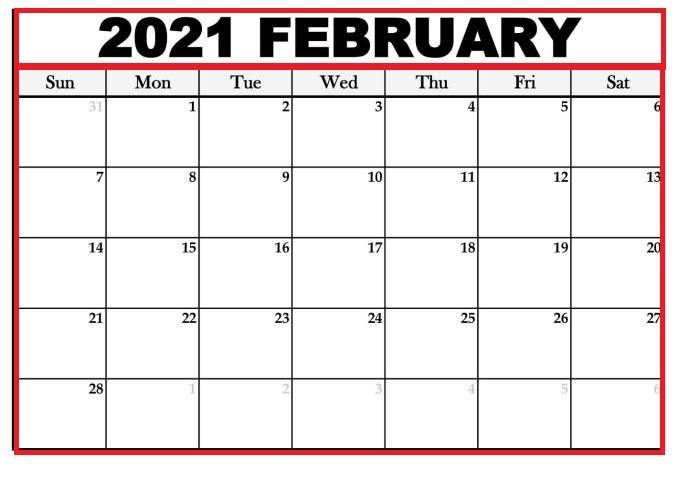 February 2021 Printable Calendar Wiki