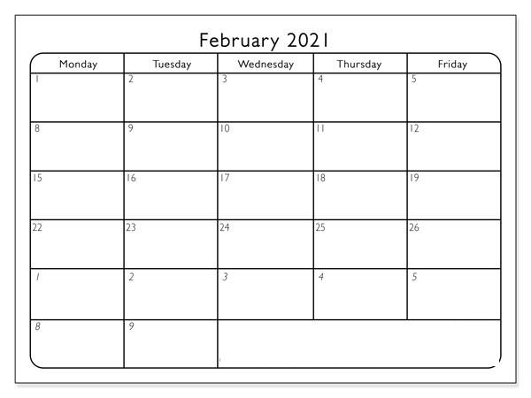 February March 2021 Printable Calendar