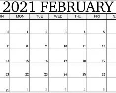 Blank February 2021 Calendar Printable