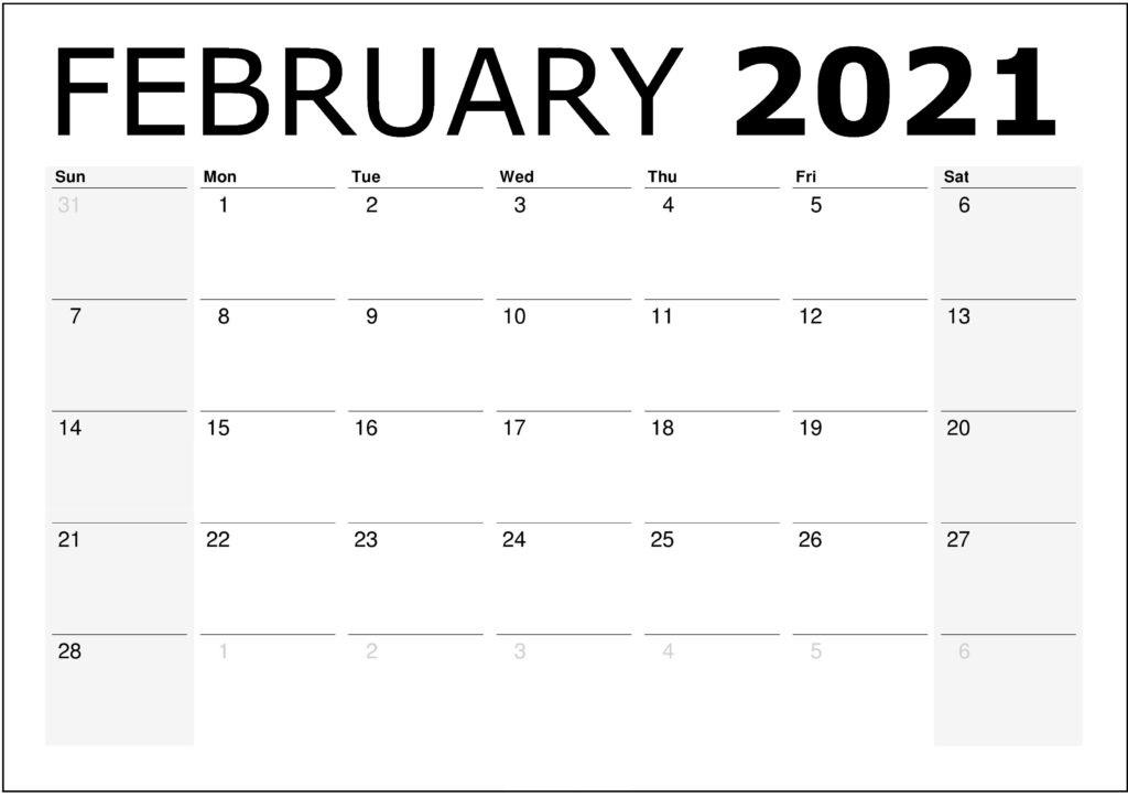 Blank February 2021 Calendar Template