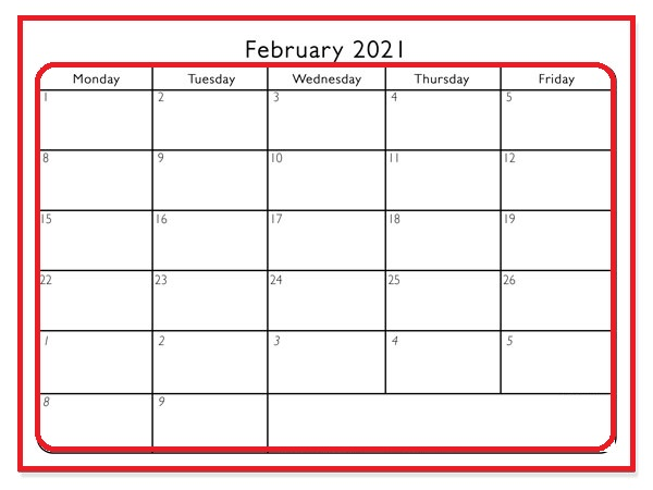 Blank February 2021 Calendar With Holidays