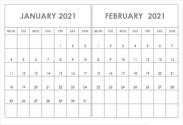Blank February 2021 Calendar Word