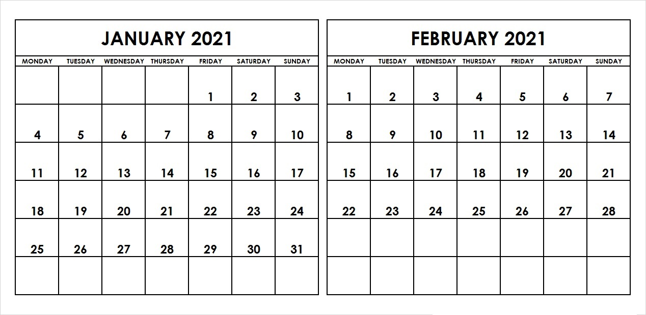 Blank February 2021 Calendar in Pages