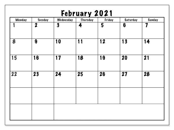 Blank February 2021 Monthly Calendar