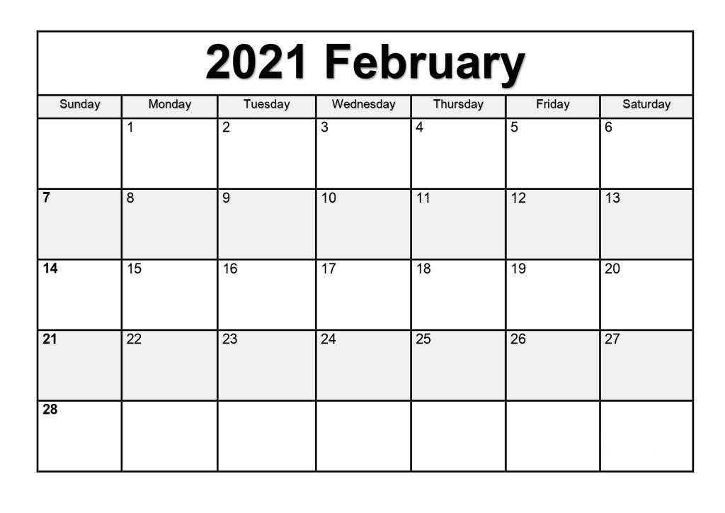 Blank February 2021 Weekly Calendar