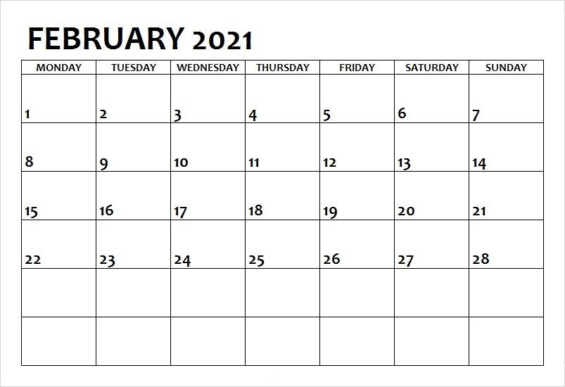 February 2021 Calendar Blank Classic Professional