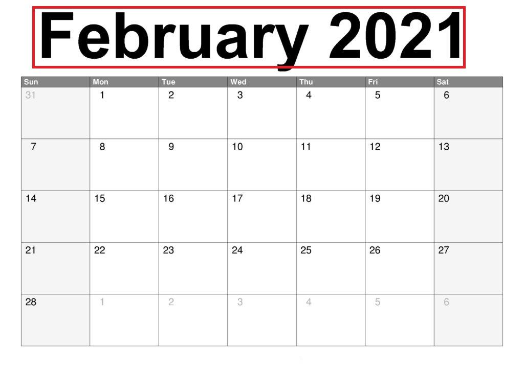 February 2021 Calendar Blank Cute