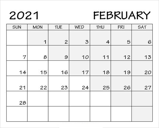 February 2021 Calendar Blank PDF