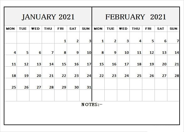 February 2021 Calendar Blank Page