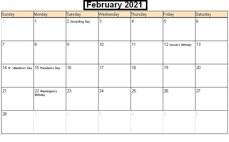 February 2021 Calendar Blank Streamlined Design
