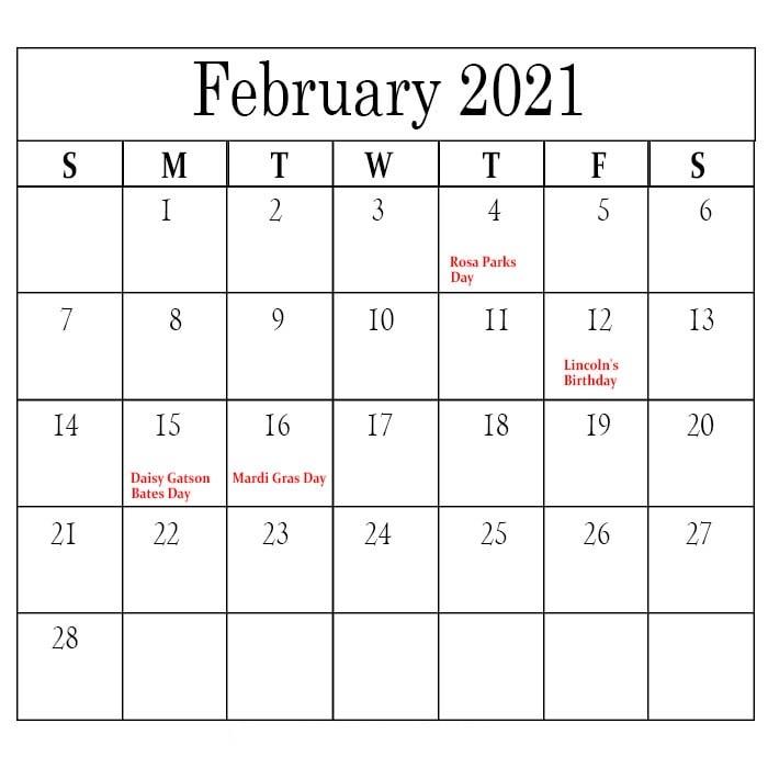 February 2021 Calendar Blank Wallpaper