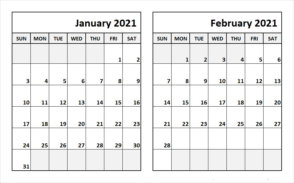 February 2021 Calendar Blank