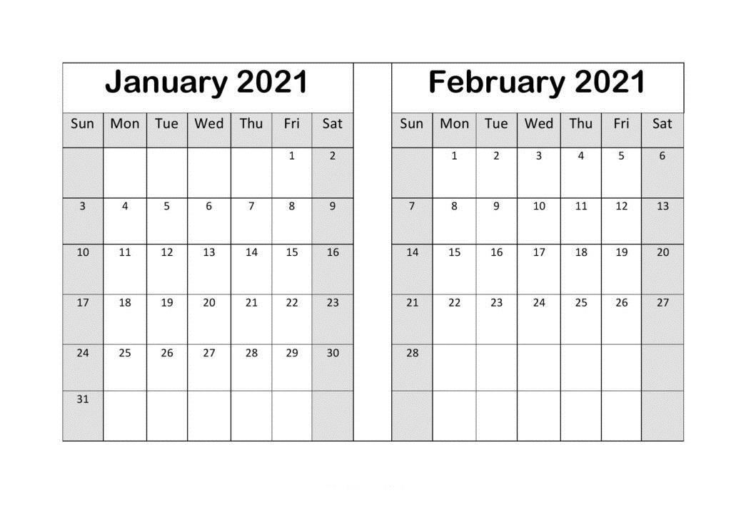 February 2021 Calendar Cute Template