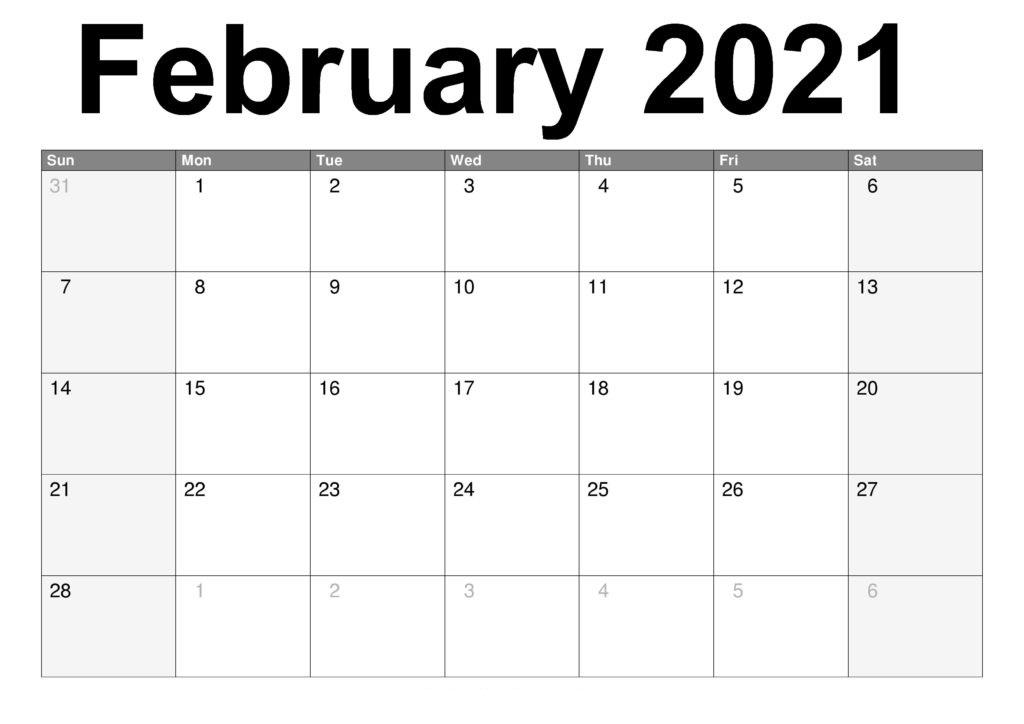 February 2021 Calendar Printable Cute