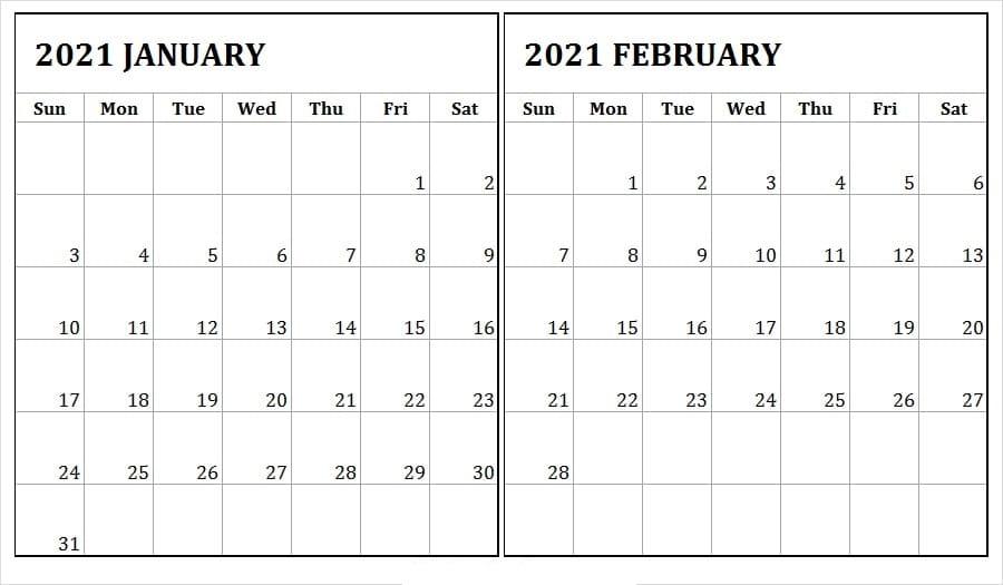 February 2021 Calendar Printable Monday Start