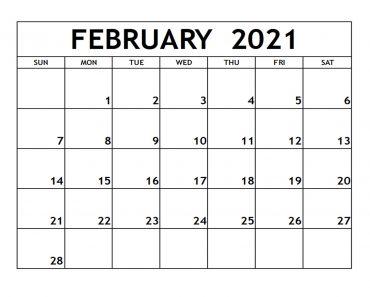 February 2021 Calendar Printable PDF