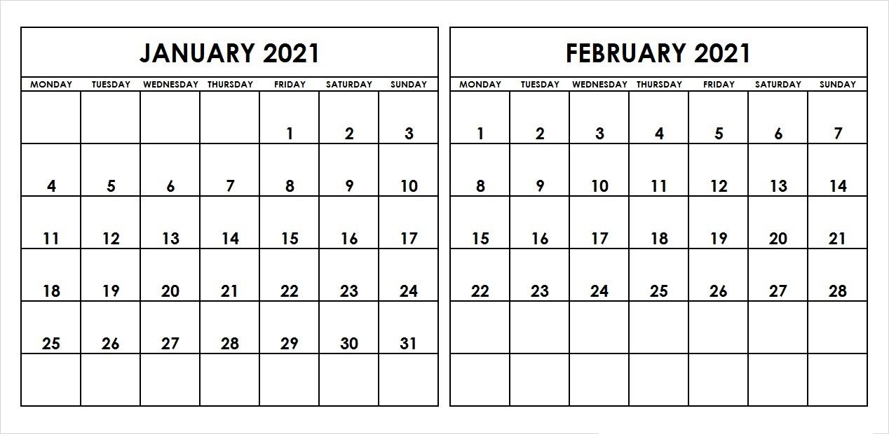 February 2021 Calendar Printable Streamlined Design
