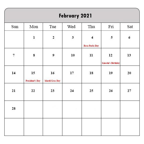 February 2021 Calendar Printable Vertical