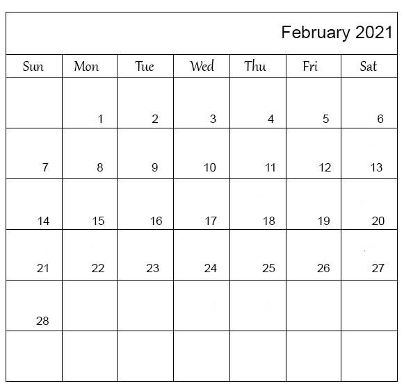 February 2021 Calendar Printable Waterproof