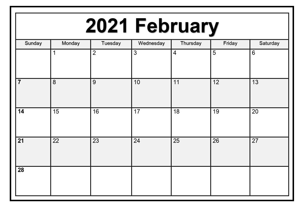 February 2021 Calendar Printable With Holidays