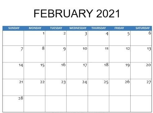 February 2021 Calendar Template Excel