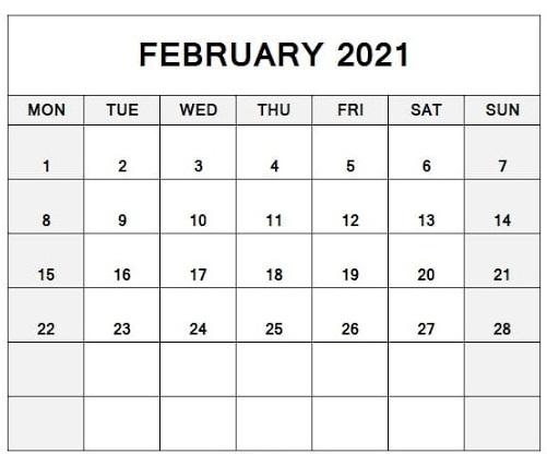 February 2021 Calendar Template Google Docs