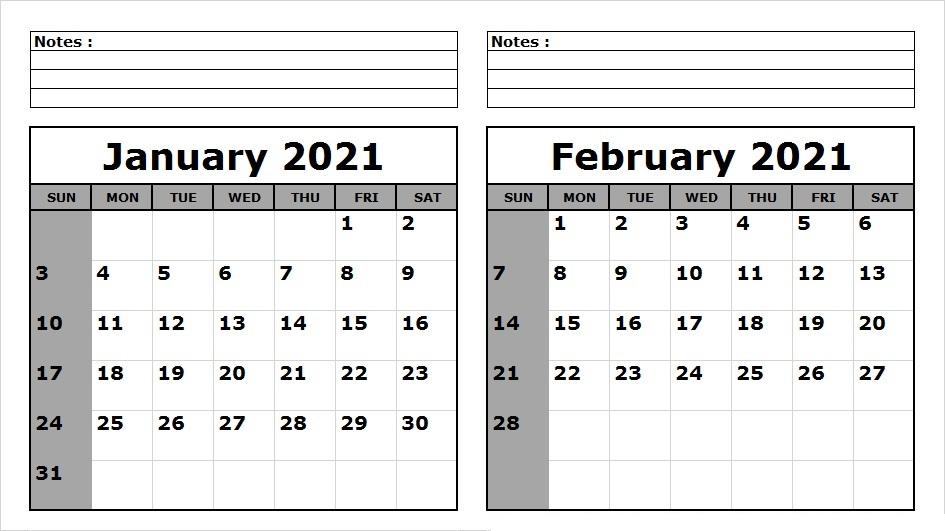February 2021 Calendar Template Monday Start