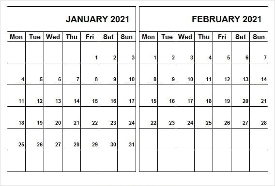 February 2021 Calendar Template PDF
