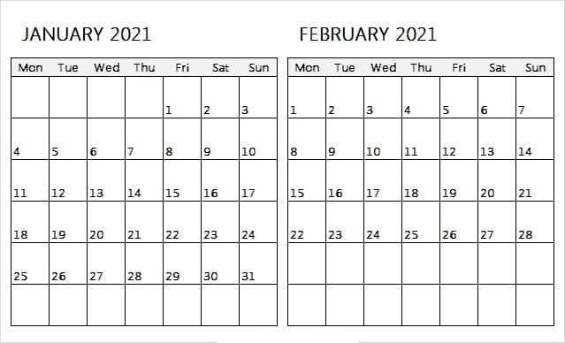 February 2021 Calendar Template Pages