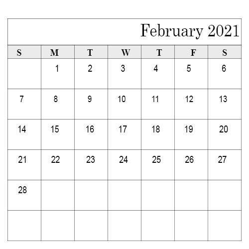 February 2021 Calendar Template Styles Dark Blue