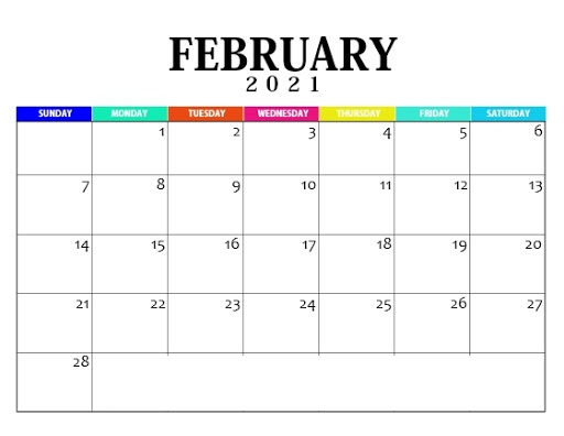 February 2021 Calendar Template Word