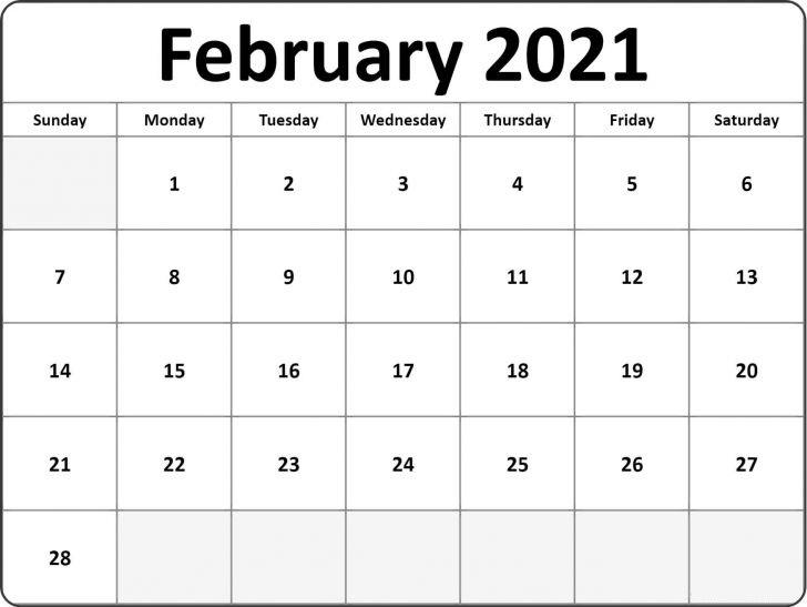 February 2021 Monthly Calendar Blank