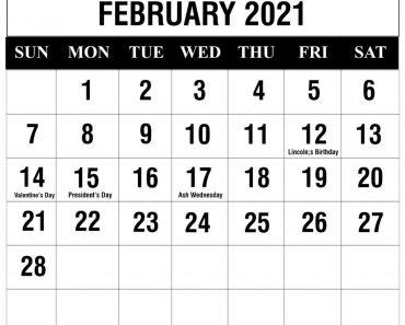 February 2021 Weekly Calendar Blank