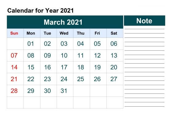 March 2021 Calendar Blank Blogilates