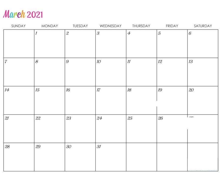 March 2021 Calendar Blank Google Docs