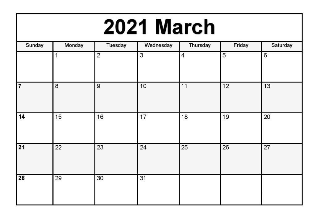 March 2021 Calendar Blank PDF