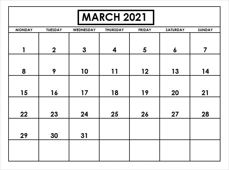 March 2021 Calendar Blank Vertical