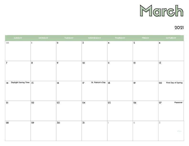 March 2021 Calendar Blank With Holidays