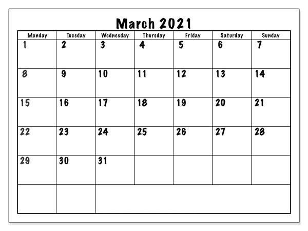 March 2021 Calendar Blank