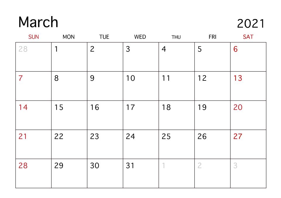 March 2021 Calendar Printable Excel