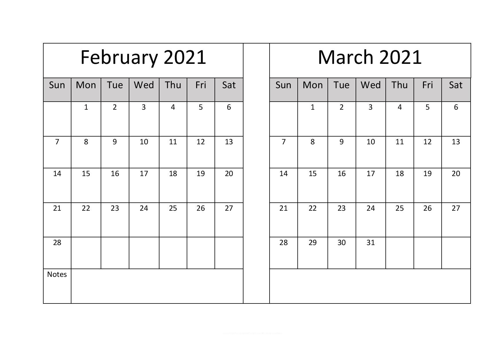 March 2021 Calendar Printable PDF