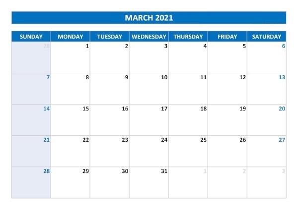 March 2021 Calendar Printable Styles Dark Blue