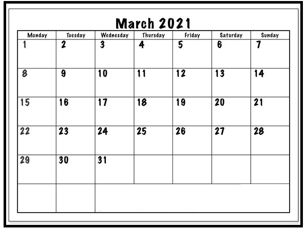 March 2021 Calendar Template Colorful Turquoise